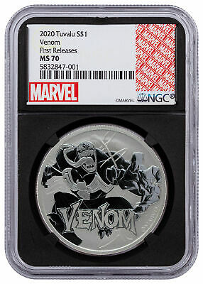 2020 Tuvalu Venom 1 oz Silver Marvel Series $1 Coin NGC MS70 FR Black SKU60636