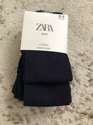 New Zara Girls Cotton Blend Navy Blue Tights 2-3 Years Set Of 2 Two Pairs
