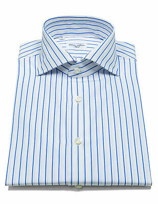 Cesare Attolini Shirt Shirt in Blue Striped with Shark Collar