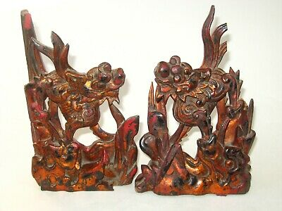 2 Antique Chinese Carved Wood Red Lacquer Dragon Foo Dogs Architectural Panels