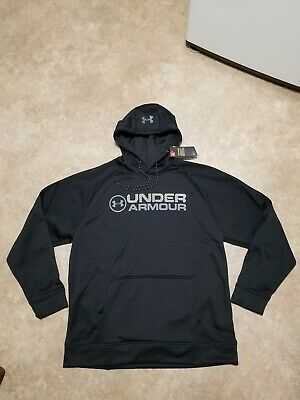 NWT Mens XL Black Under Armour Wordmark Storm CG Fleece Sweatshirt Hoodie $55