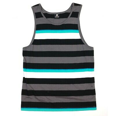 YAGO Men's Casual Striped Tank Top Shirt for Indoor & Outdoor (Turquoise/Bk,H3)