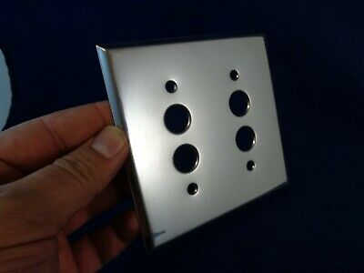 Push Button Light Switch Double Plate, Chrome, vintage metal