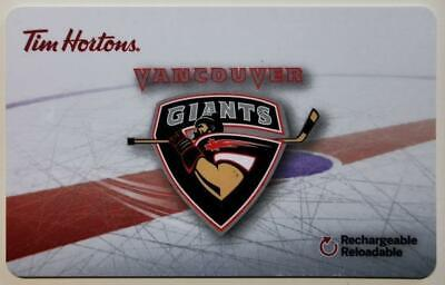 TIM HORTONS GIFT CARD  ~VANCOUVER GIANTS ~FREE ship ~Unloaded ~Junior Hockey