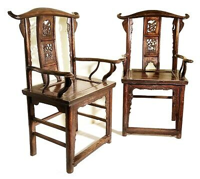 Antique Chinese Arm Chairs (3014)(Pair), High Back, Circa 1800-1849