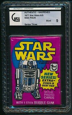 1977 Topps Star Wars Series 3 Non Sports N/S Unopened Wax Pack GAI 9 MINT