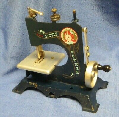 Vintage Little Mother Tin Hand Cranked Toy Sewing Machine