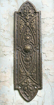 GOTHIC Ornate Antique Solid CAST BRONZE Door PUSH PLATE Patina not iron or brass