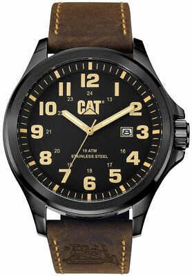 Men's CAT Caterpillar Operator Brown Leather Strap Watch PU16135114