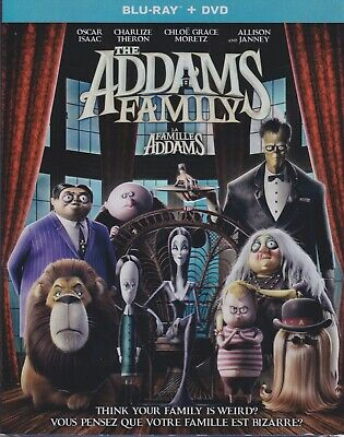 THE ADDAMS FAMILY (2019) BLURAY & DVD SET with Oscar Isaac & Charlize Theron