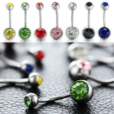 Double Rhinestone Non Piercing Belly Bars Body Jewelry Navel Bar Button Ring