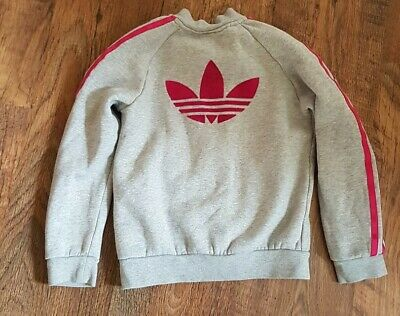 Girls Adidas Top Jacket Sports Fashion Pink And Grey Girl Sport Casual 7/8 yrs