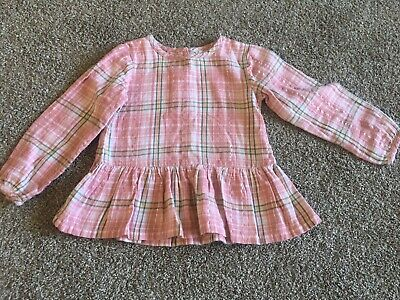 Girls Age 2-3 Pink Checked Long Sleeved Top From George
