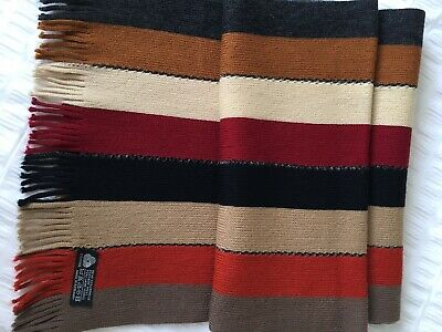 Vintage 100% Wool Made In Germany Knitted Scarf Dividing Crochet Stitch Unworn