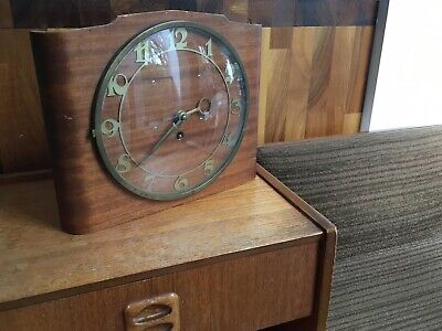 Art Deco 50s 30s Made In Sweden Movement Vintage Curved Wooden Wind Up Clock