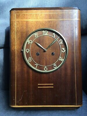 Art Deco 50s 30s ODO Foreign Movement Vintage Curved Wooden Wind Up Clock