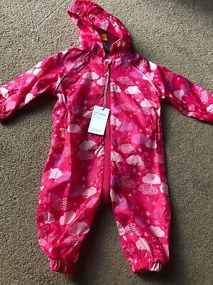 Mothercare Baby Girls Pink All Over Print Clouds Puddlesuit 3-6 Months