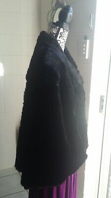 SALE VTG Mortons Genuine Fur Opera Cape black wrap jacket coat Muskrat mink fox