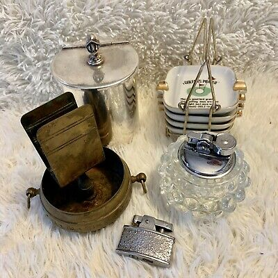 Bulk Lot Of Vintage Tobacciana Collectables Lighters Ronson Ashtrays Brass