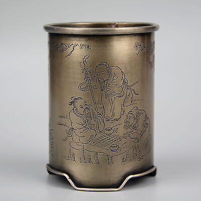 Collectable China Old Miao Silver Hand-Carve Immortal Moral Auspicious Brush Pot