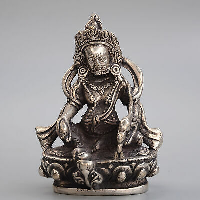 Collectable China Old Miao Silver Hand-Carved Moral Exorcism Buddhism Statue