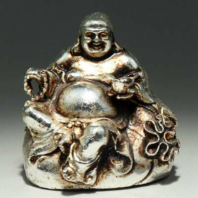 Collect China Old Miao Silver Hand-Carved Happy Buddha Bring Luck Decor Statue