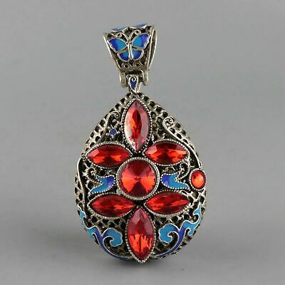 Collectable Handwork Old Cloisonne Carved Butterfly Exquisite Hollow Out Pendant