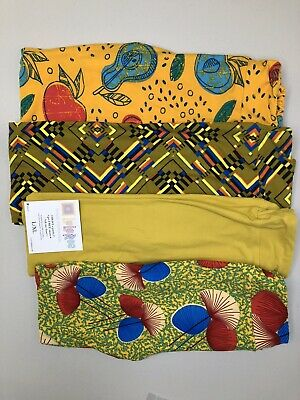 Lularoe Kids Leggings Lot Of 4 Size L/XL Vintage Print And Solid NWT