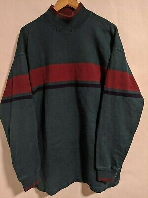 Vintage LL Bean Mens Large Turtle Neck Pullover Sweater Dark Teal Made in USA