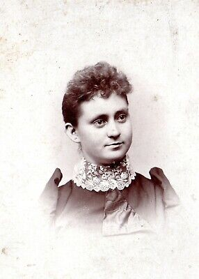 Antique CABINET CARD photo Woman Lace Collar by JACOBS of Eagle Grove IOWA ID'd