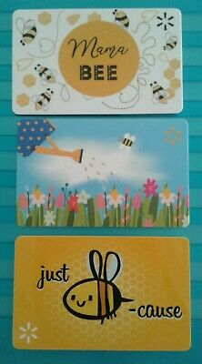 Walmart BEE Gift Cards, 3 Different Mama Bee, Just Bee Cause, Collectible, Mint