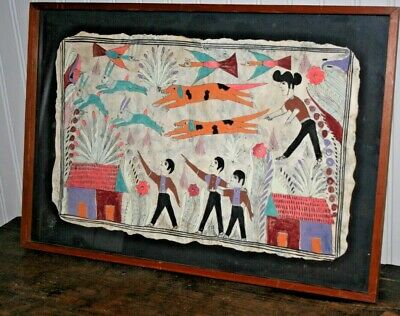 Original Vintage Amate Folk Art Mexico Bark Painting