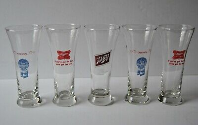 Set Of Five 10 Ounce PABST BLUE RIBBON / MILLER  / SCHLITZ Beer Glasses Pilsner