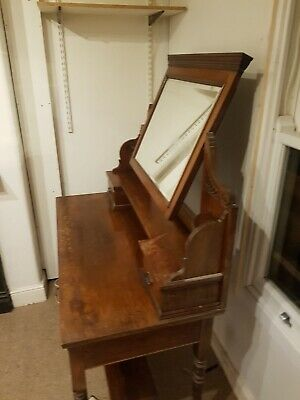 antique pine dressing table mirror with stool