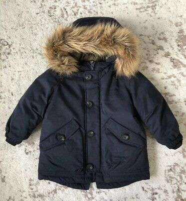New Zara Baby Boy Navy Blue Fur Lined Hooded Parka Down Puffer Coat 12-18M