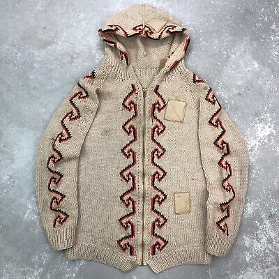 Vintage Cowichan Sweater 40s 50s Hand Knit Full Zip Hooded Talon Rare
