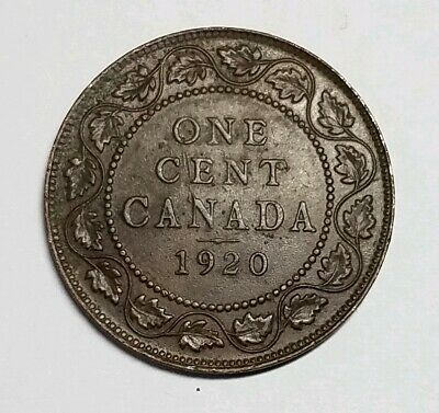 🇨🇦 1920 Canada Large One Cent Coin (95% Copper)  GEIRGIVS V ☆326