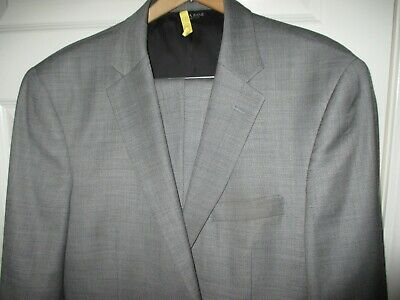 JOS A BANK Traveler Tailored Fit 100% Wool Suit Flat Front Pant cuff Sz 43R Gray