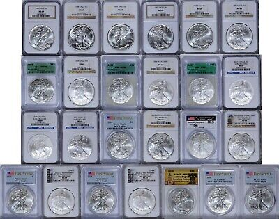 23 Coin MS69 1986 to 2017 W S Silver Eagle $1 Lot NGC PCGS Mercanti West Anniv