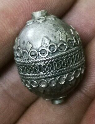 HELLENIC PERIOD NEAR EAST LARGE SIZE SILVER DECORATED BEAD CA 300-50BC 5.1gr 27m
