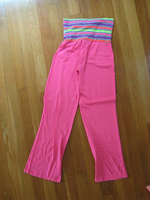 girls Converse YOGA FIT PANTS S 8 10 pink purple gray striped leggings sweat
