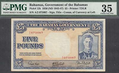 Government of  the Bahamas 5 Pounds Banknote P-12b 1936(ND 1945-47) PMG 35
