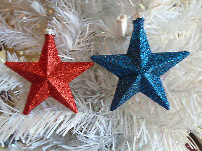 2 Red Navy Blue Stars Glitter Ornaments Tree Patriotic Decor Fourth of July 4TH