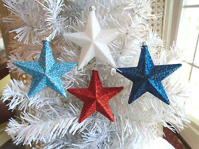 4 Red White Blue Navy Stars Glitter Ornaments Tree Patriotic Fourth of July 4TH