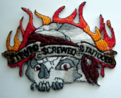 """STEWED SCREWED & TATTOOED with Skull & Flames Biker PATCH 2 1/2"""" x 3 1/2"""""""