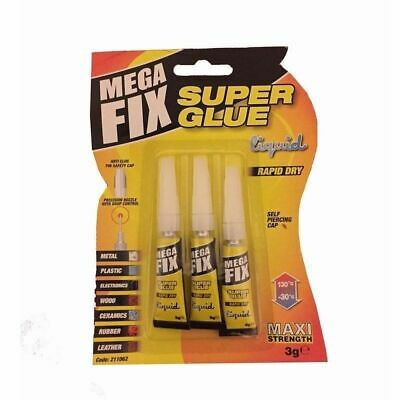 3 X Mega Fix Super Glue Extra Strong Industrial Strength Adhesive Wood Metal New