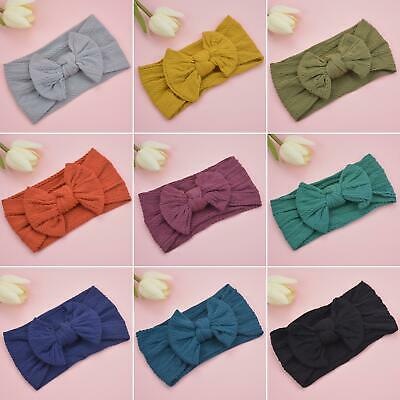 AU_ ALS_ Baby Toddler Girls Kids Solid Color Bowknot Wide Hairband Headband Head