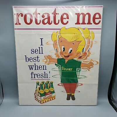 """Vintage 1962 Squirt Rotate Me Mounted Paper Sign Poster w/ Boy Bottles - 16""""x20"""""""