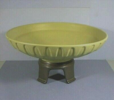 Mid-Century Modern, Bowl With Attached Ceramic Stand, Green & Black, Mark U.S.A.