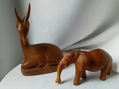 Vintage Hand Carved Wood African Animals Elk/deer and Elephant